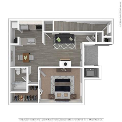 Floor Plan  1 Bed 1 Bath Floor Plan at The Villas at Northstar, Ann Arbor