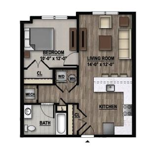Floor Plan  1 Bedroom Floor Plan Image