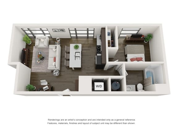 Floor Plan  1 Bedroom 1 Bath 630 Square Feet 3D Floorplan - The Arts Lofts at Dayton Arcade, Dayton, OH