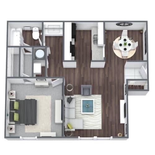 Floor Plan  11W Floor Plan, 1-Bed 1-Bath, 733 SQFT