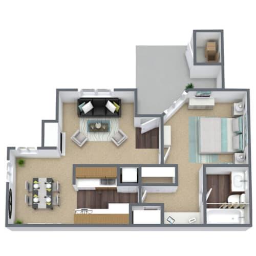 Floor Plan  Broadmoor Village 1x1 Floor Plan, 641 SQFT