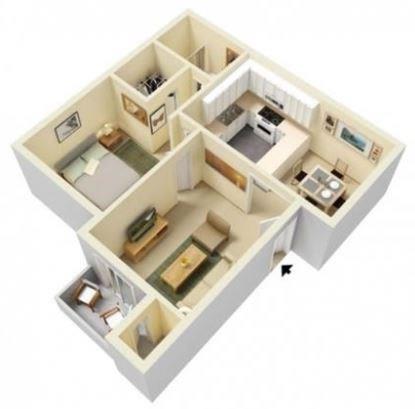 Floor Plan  1-Bedroom, 1-Bathroom Floor Plan