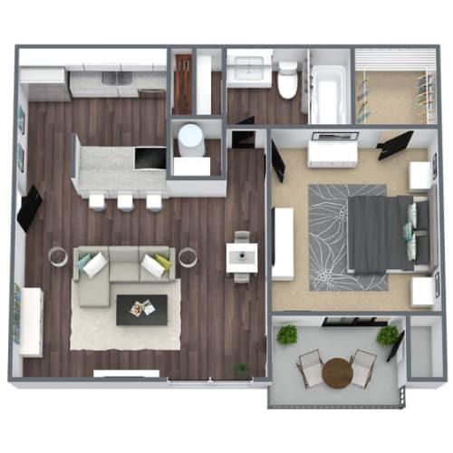 Floor Plan  Ash Floor Plan, 1-bed 1-bath, 650 SQFT.