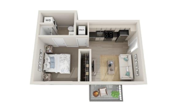 Floor Plan  Crescendo Floor Plan, Studio 1-Bath, 422 SQFT.