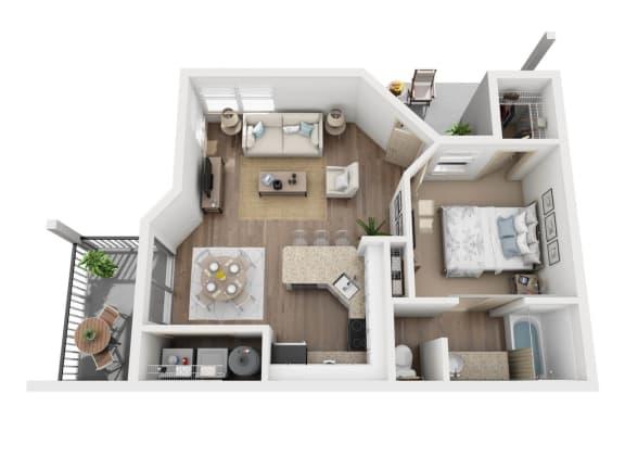 Floor Plan  A1/A2R Floor Plan, 1 Bed 1-Bath