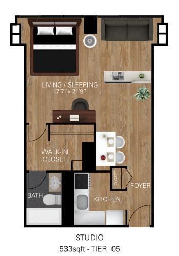 Floor Plan  Studio - Tower