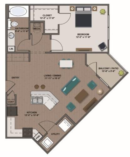 Floor Plan  A4 - Bonhomme 847 sf