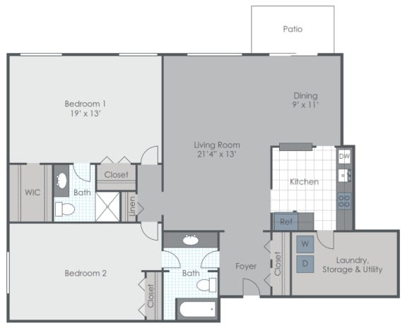 Floor Plan  2 Bedroom 2.5 Bath townhome floor plan image