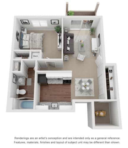 Floor Plan  1 Bed 1 Bath 600 sq ft 3D floor plan.