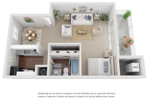 Floor Plan  Studio Floor Plan 619 sq ft 3D.