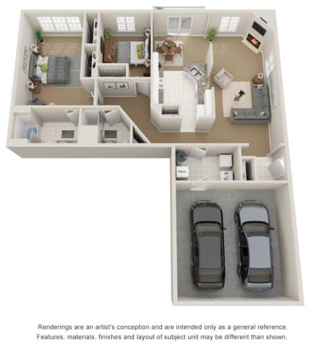 Floor Plan  2 bedroom 2 bath 3D floor plan.