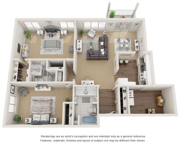 Floor Plan  2 bedroom 2 bath 3D floor plan, 1,460 sq ft.