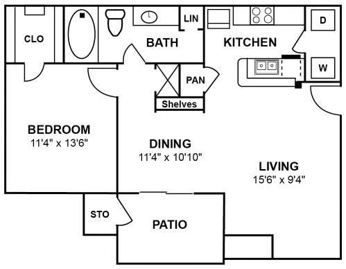 Floor Plan  Barcelos  1 Bed   1 Bath   717 Sq.Ft.