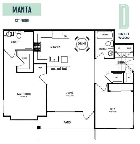 Floor Plan  Manta 1st Floor - 2 Bedroom 2 Bath Floor Plan Layout - 1025 Square Feet