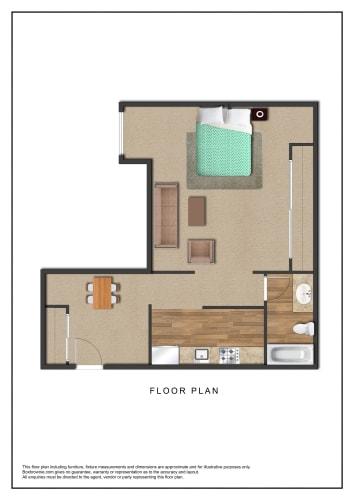 Floor Plan  The Galleria Apartments Studio Floor Plan