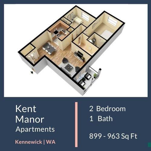 Floor Plan  Kent Manor Apartments 2x1 Floor Plan