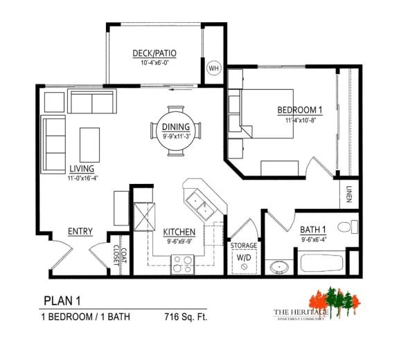 Floor Plan  The Heritage Apartment Community 1A Floor Plan