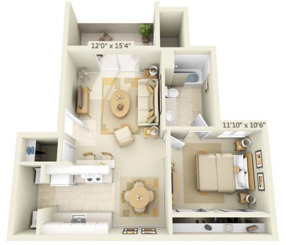 Floor Plan  Sunset Summit Apartment Mt. Hood 1x1 Floor Plan 664 Square Feet