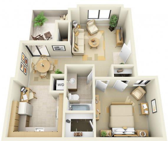 Floor Plan  River Pointe Apartments 1x1 Floor Plan 655 Square Feet