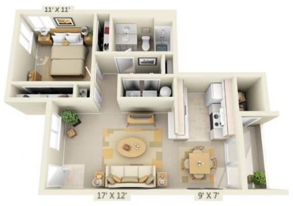 Floor Plan  Sir Charles Court Apartments 1x1 Floor Plan 719 Square Feet