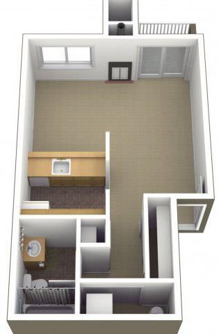 Floor Plan  Riverwood Apartments Studio 0x1 Floor Plan 500 Square Feet