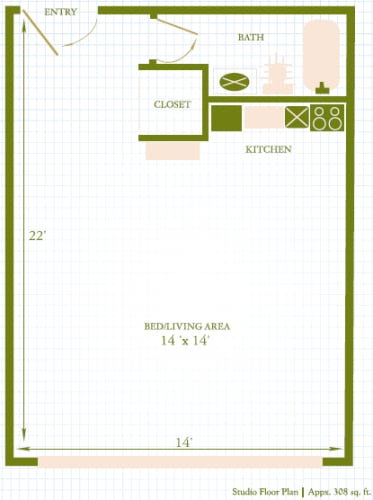 Floor Plan  Lahaina Town Apartments studio floor plan