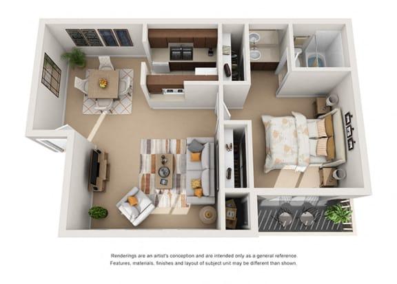 Floor Plan  1 bed 1 bath floorplan 3D, at Patterson Place, Santa Barbara, CA 93111