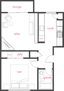 Floor Plan  1 Bed 1 Bath phase 1