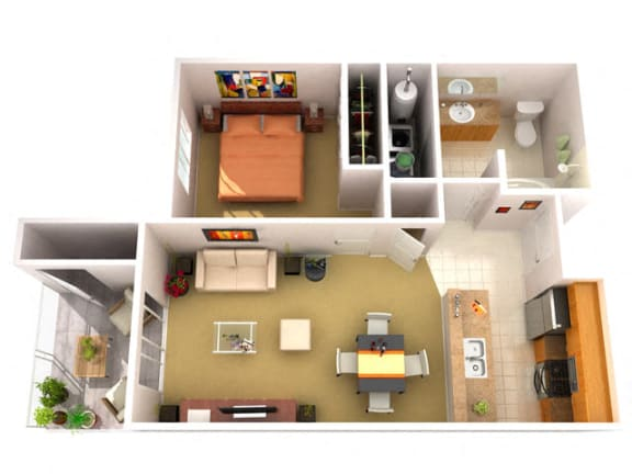 Floor Plan  1A 1 Bedroom 1 Bathroom Floor Plan