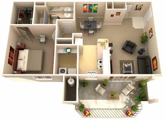 Floor Plan  Aspen One Bedroom One Bathroom Floor Plan in Fairfield, CA