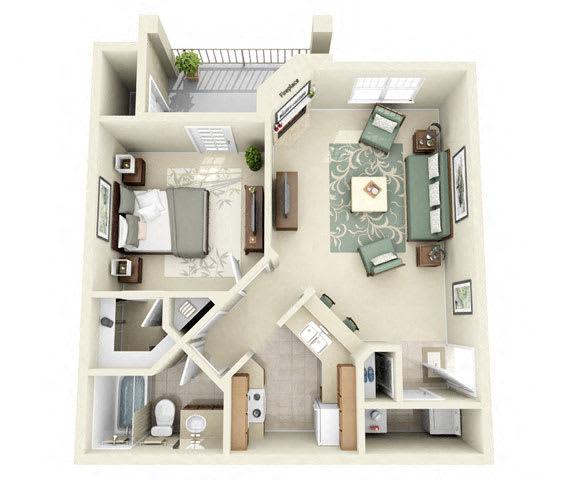 Floor Plan  Calder One Bedroom Floor Plan 3D Image