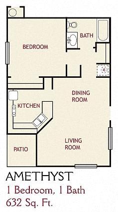 Floor Plan  1 Bedroom Amethyst Floorplan