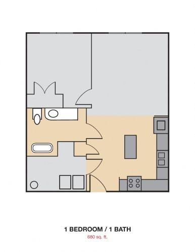 Floor Plan  1 Bedroom 1 Bath 2D Floorplan_Cedars at Carver Park Galveston, TX