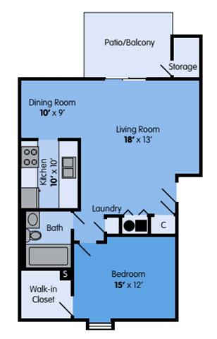 Floor Plan  THE MAPLE Floor Plan at Woodbridge Apartments, Louisville, KY, 40242
