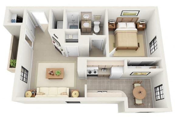Floor Plan  1 bedroom apartment for rent Santa Fe