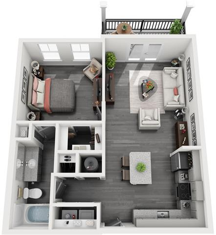 Floor Plan  A-1 1-bedroom/1-bathroom 3D floor plan layout with 711 square feet at The Station at Savannah Quarters apartments for rent