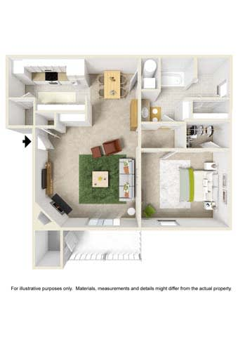 Floor Plan  1-bedroom/1-bathroom floor plan layout with 776 square feet of space at The Reserve of Byram apartments for rent