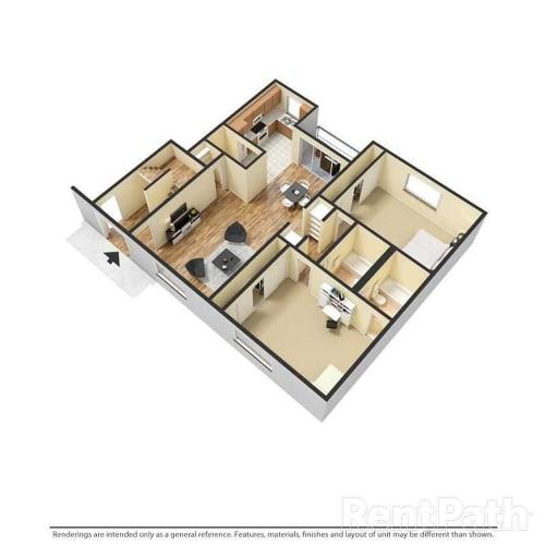 Floor Plan  2 Bedrooms, 2 Bathrooms