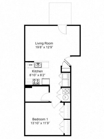 Floor Plan  1 Bedroom 1 Bath 2D Floorplan-Duneland Village Apartments Gary, IN