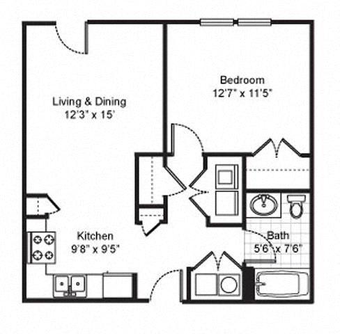 Floor Plan  1 Bedroom 1 Bath 2D Floorplan-Fairfield Apartments Pittsburgh, PA