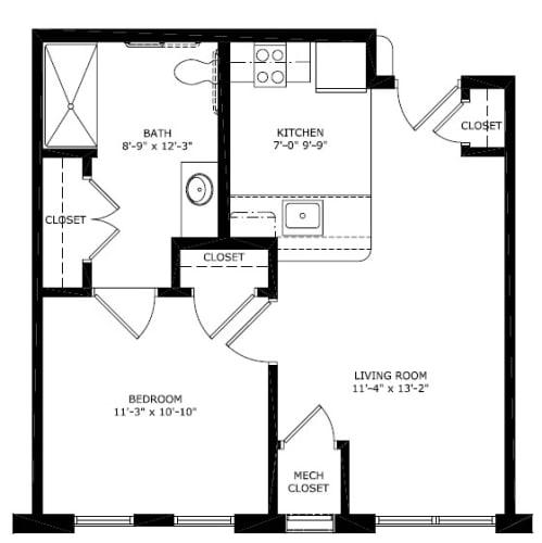 Floor Plan  1 Bedroom 1 Bath 2D Floorplan Style A1-Legacy Apartments, Pittsburgh, PA 15219