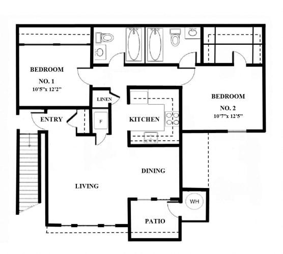 Floor Plan  2 Bedrooms, 2 Bathrooms (Downstairs)