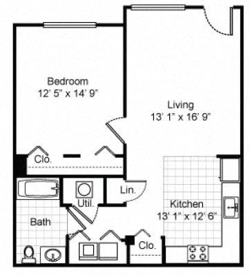 Floor Plan  1 Bedroom 1 Bath Garden Apartment 2D Floorplan-Tremont Pointe Apartments, Cleveland, OH 44113