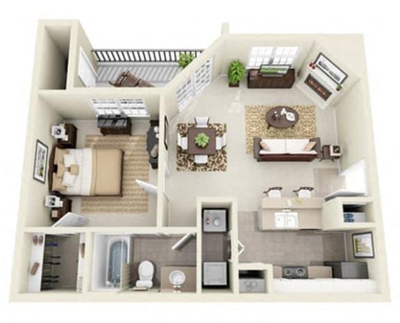 Floor Plan  1 bedroom apartments for rent valley ranch Irving TX