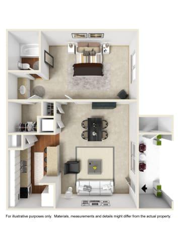 Floor Plan  1 Bed 1 Bath Floor Plan at Crestview at Cordova, Pensacola