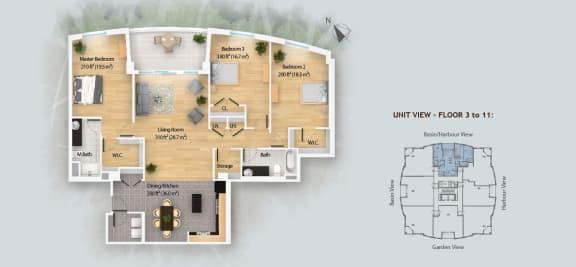 Floor Plan  3 Bedroom - Type A