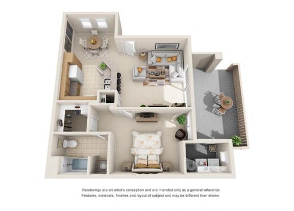 Floor Plan  1 bed 1 bath Plan A floorplan at Willow Springs, Goleta, CA 93117