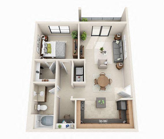 Floor Plan  Dublin Floor Plan | 1 Bed 1 Bath | 760 sq.ft.