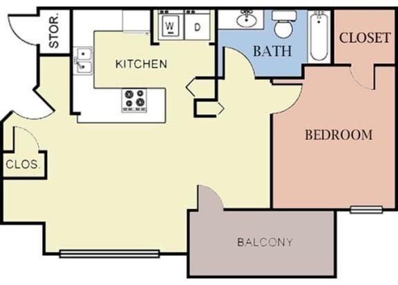 Floor Plan  1 Bedroom 1 Bath 2D Floorplan-Cambury Hills Apartments Omaha, NE