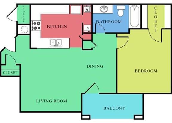 Floor Plan  1 Bedroom 1 Bath 2D Floorplan-Waterbrook Apartments Lincoln, NE
